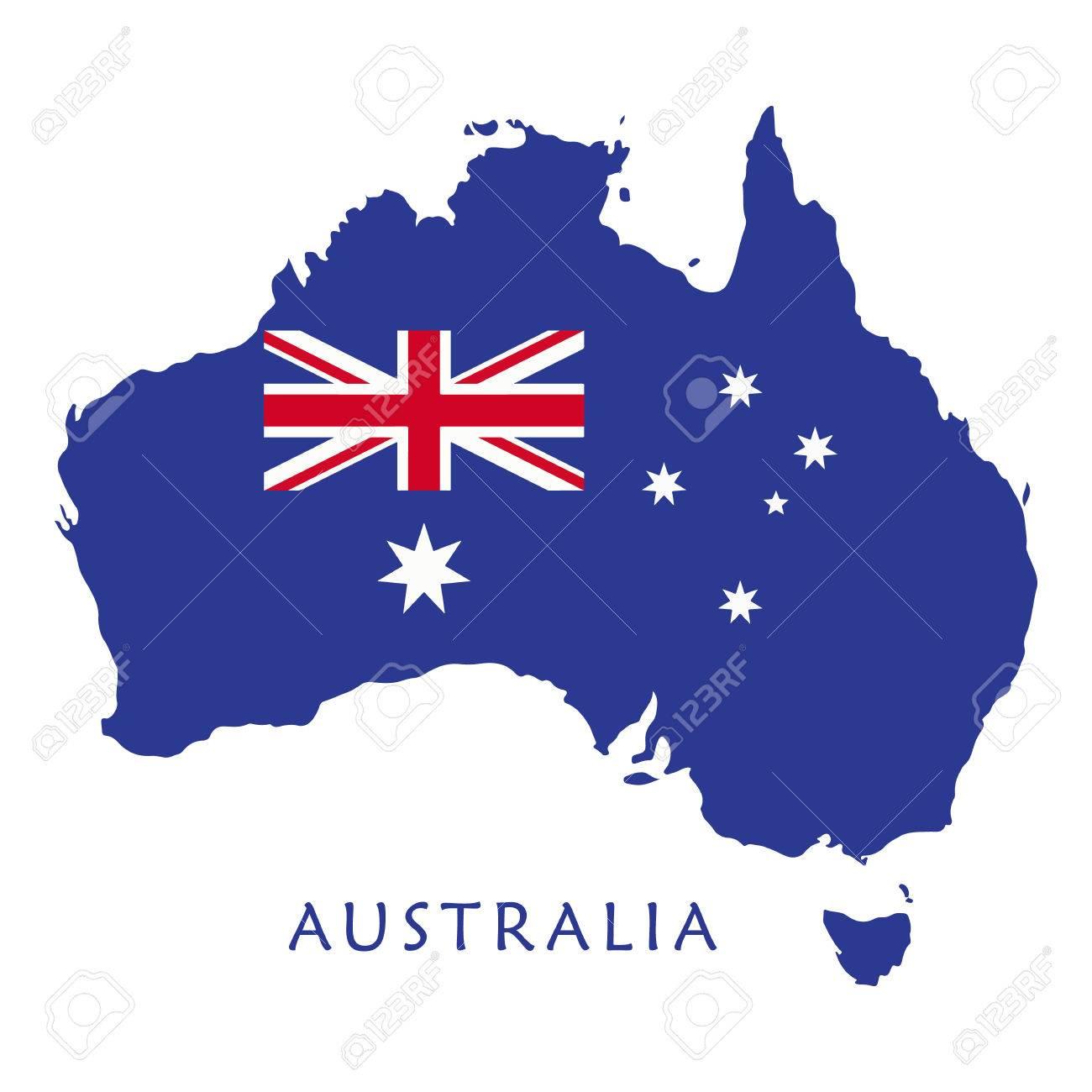 Australia Map Template.Map Australia Blue Map Of Australia With Australian Flag Isolated