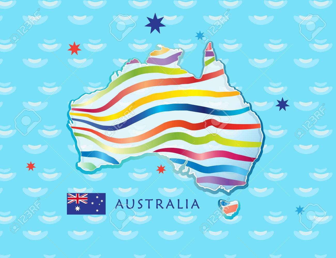 Australia Map Poster.Map Of Australia For Celebration Australia Day 26th January