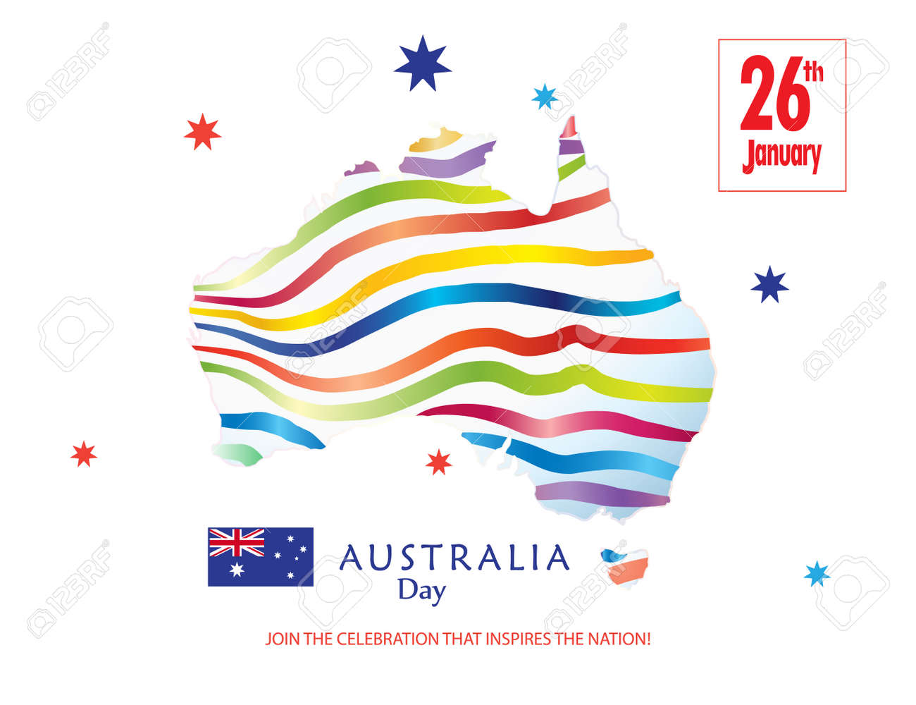 Map Of Australia 26th Parallel.Happy Australia Day 26th January Inscription Poster With Australia