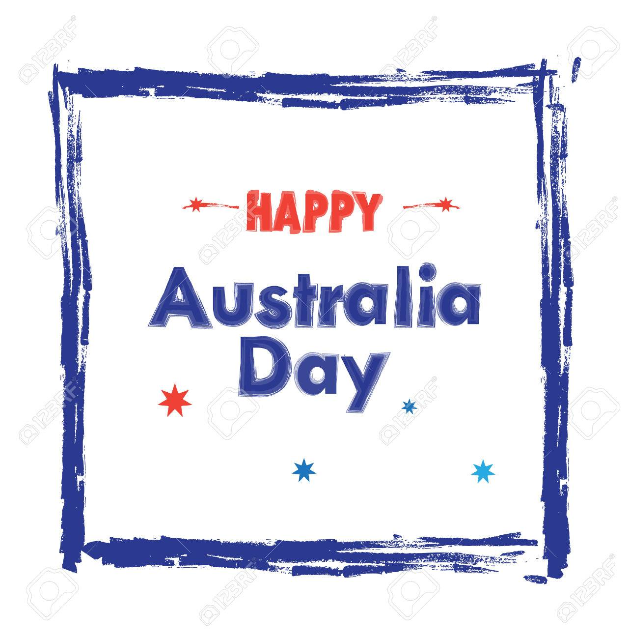 Happy Australia Day Lettering In Blue Hand Drawn Frame On White ...