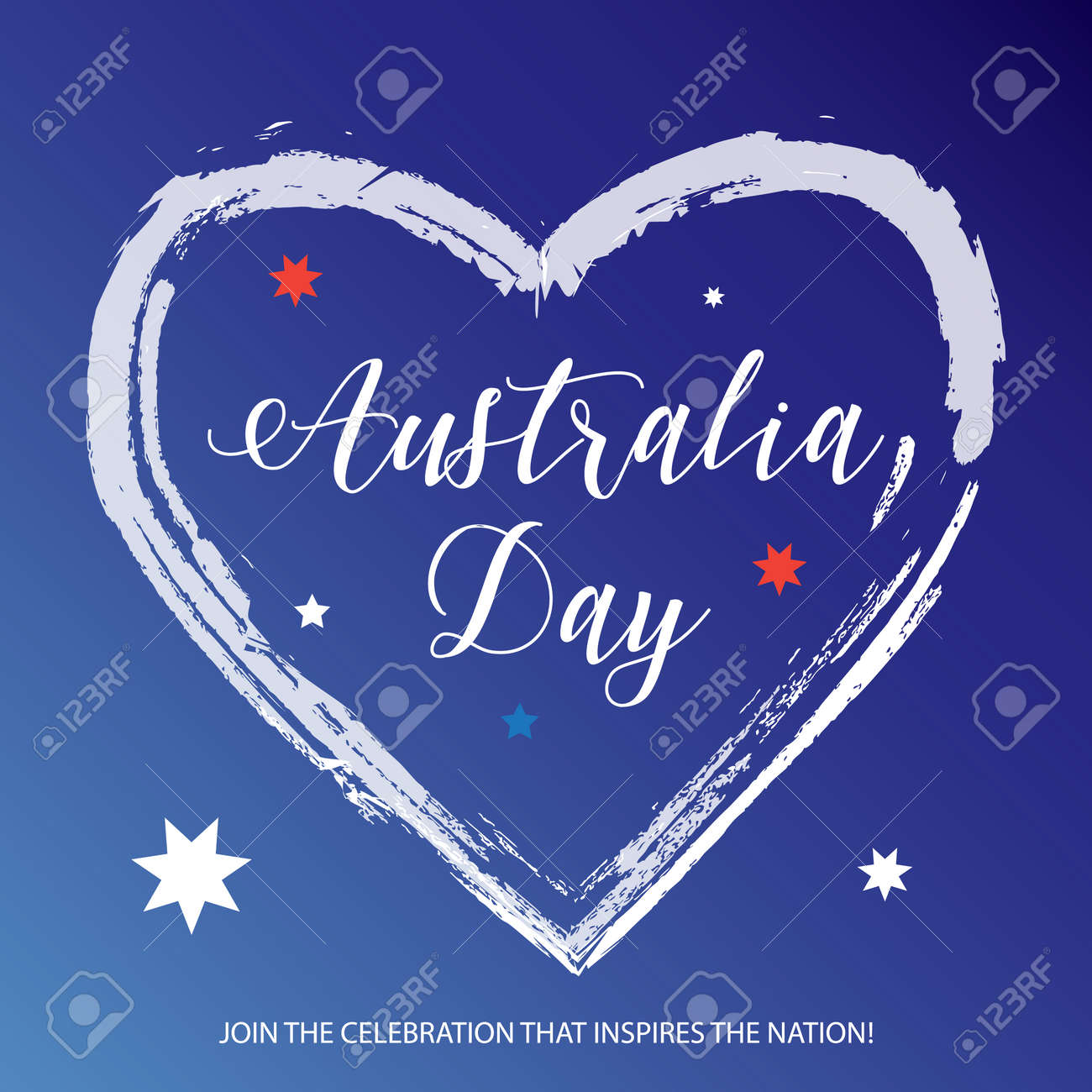 Australia day 26 january poster with lettering heart shape on australia day 26 january poster with lettering heart shape on australian flag color background m4hsunfo