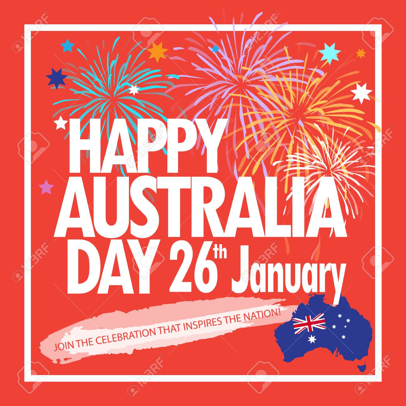 Australia Map Poster.Happy Australia Day 26th January Inscription Poster With Australia
