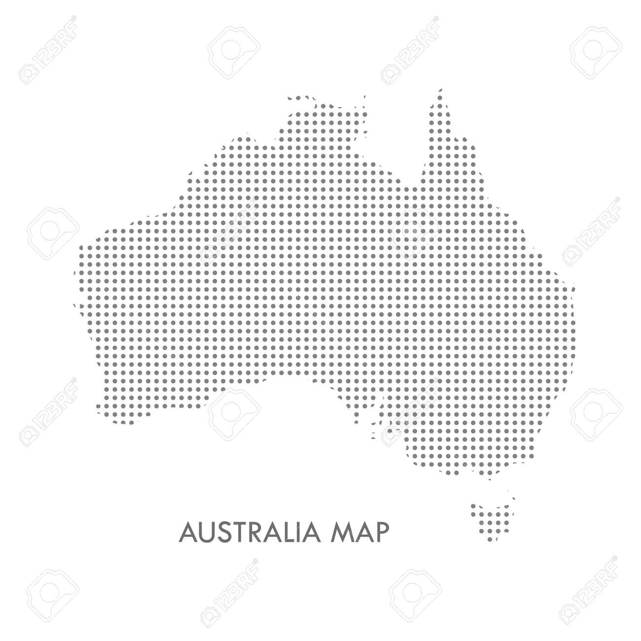 Australia Map Icon.Australia Map Icon With Black Dots Pattern Isolated On White