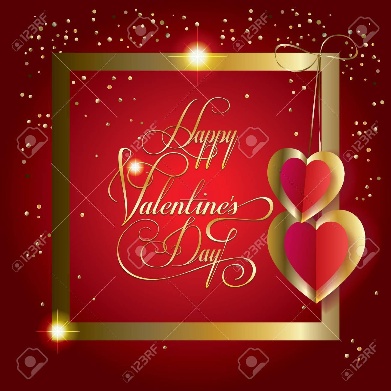 Valentinstag Luxus-Grußkarte Mit Herzen, Goldrahmen, Glitter ...