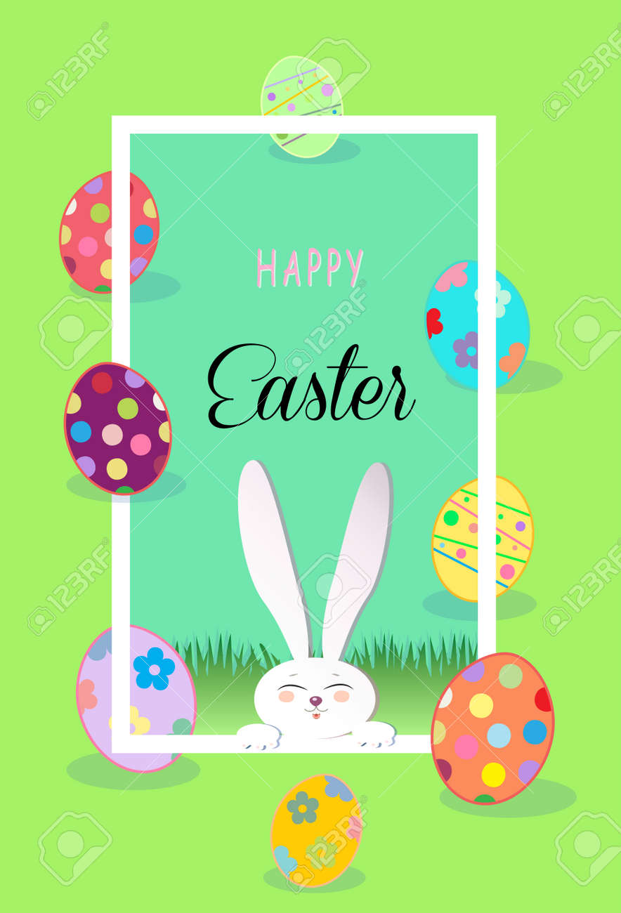 Happy easter greeting card spring cute easter rabbit and easter happy easter greeting card spring cute easter rabbit and easter eggs green grass m4hsunfo