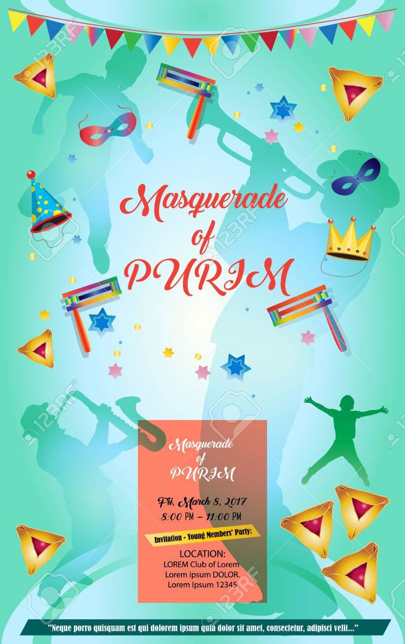 purim masquerade invitation poster template happy purim jewish