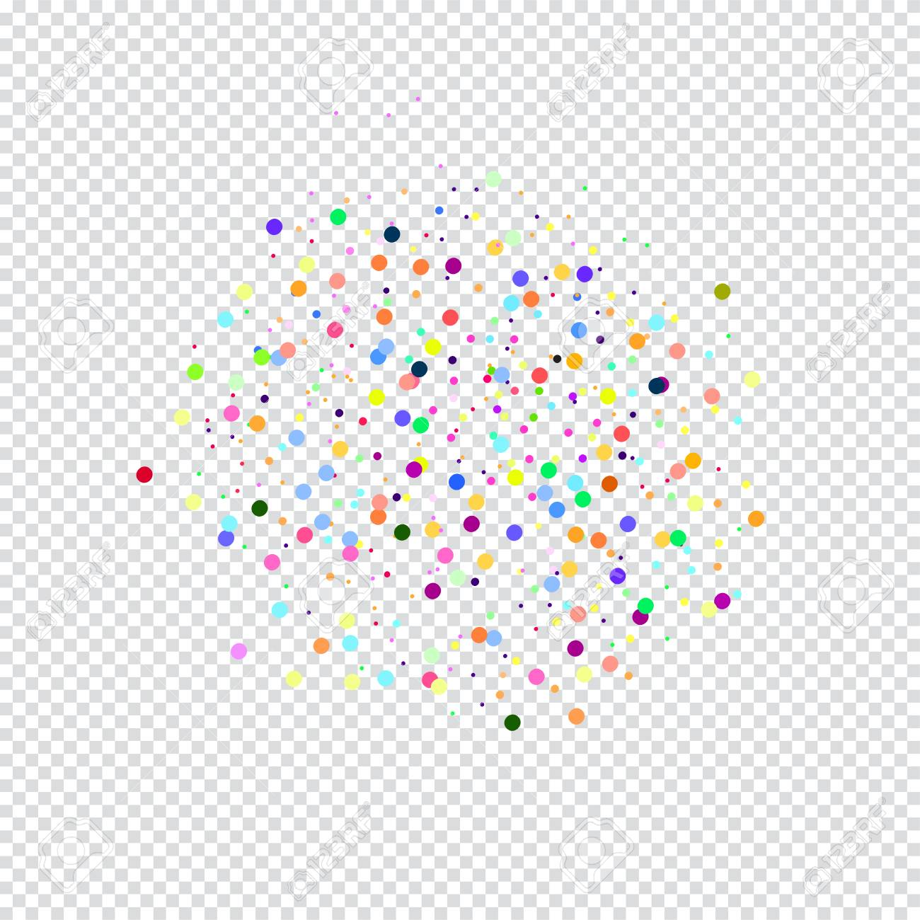 colorful confetti on transparent background vector template