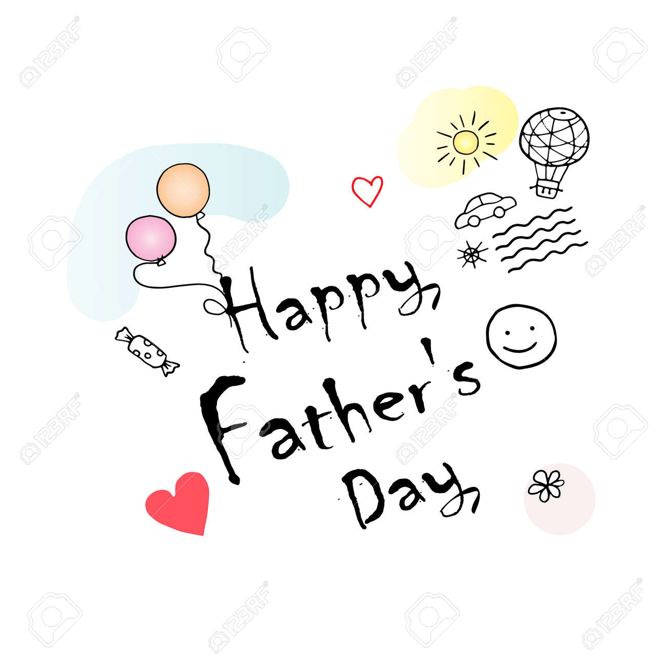 Happy Father S Day Gift Card Vector Illustration Hand Drawn