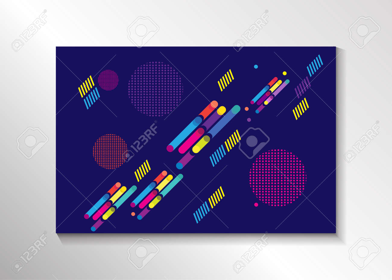 Memphis Style Abstract Minimal Background. Colorful Dynamic ...
