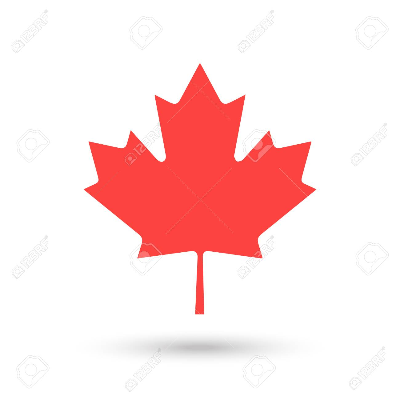 Maple Leaf Logo Isolated On White Happy Canada Day Greeting