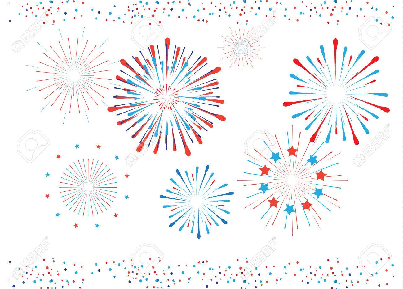 Fireworks And Confetti In American Flag Color. Red And Blue ...