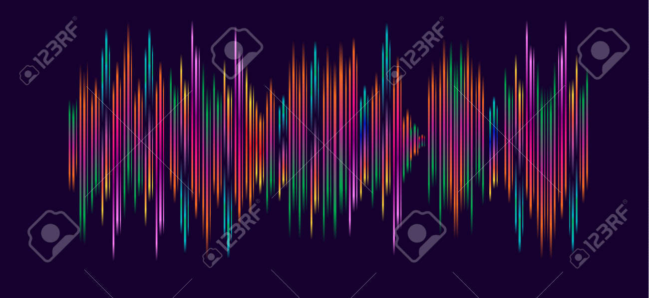 Abstract Wallpaper With Sound Waves Multicolored Dynamic Shapes