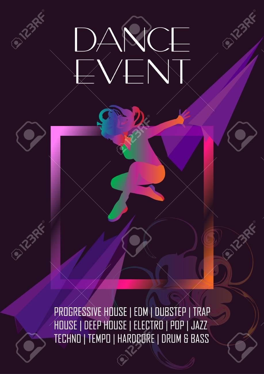 ダンス イベント祭壁紙 パフォーマンス ポスター フライヤー デザイン モダンです 現代の女性ダンサー 色とりどりのシルエット 動き動的効果ベクトルでカバーします 女の子のダンス 流行に敏感なスタイル のイラスト素材 ベクタ Image