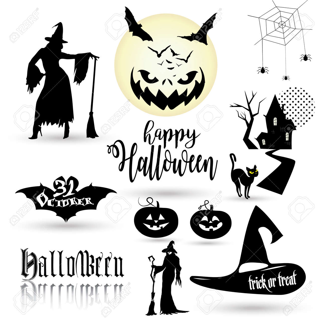 Good Wallpaper Halloween Magic - 83928088-halloween-wallpaper-with-halloween-symbols-halloween-pumpkin-lantern-logo-bat-icon-witch-woman-silho  Trends_778914.jpg