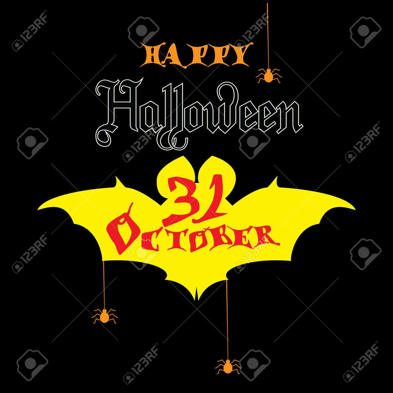 Happy halloween poster with bat logo 31 october icon concept happy halloween poster with bat logo 31 october icon concept design modern halloween invitation stopboris Image collections