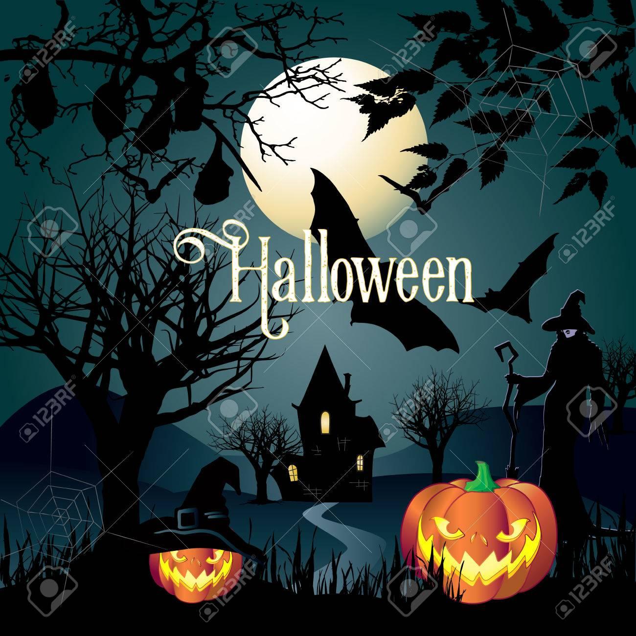 Halloween Vector Illustration. Halloween Party Magic Night ...