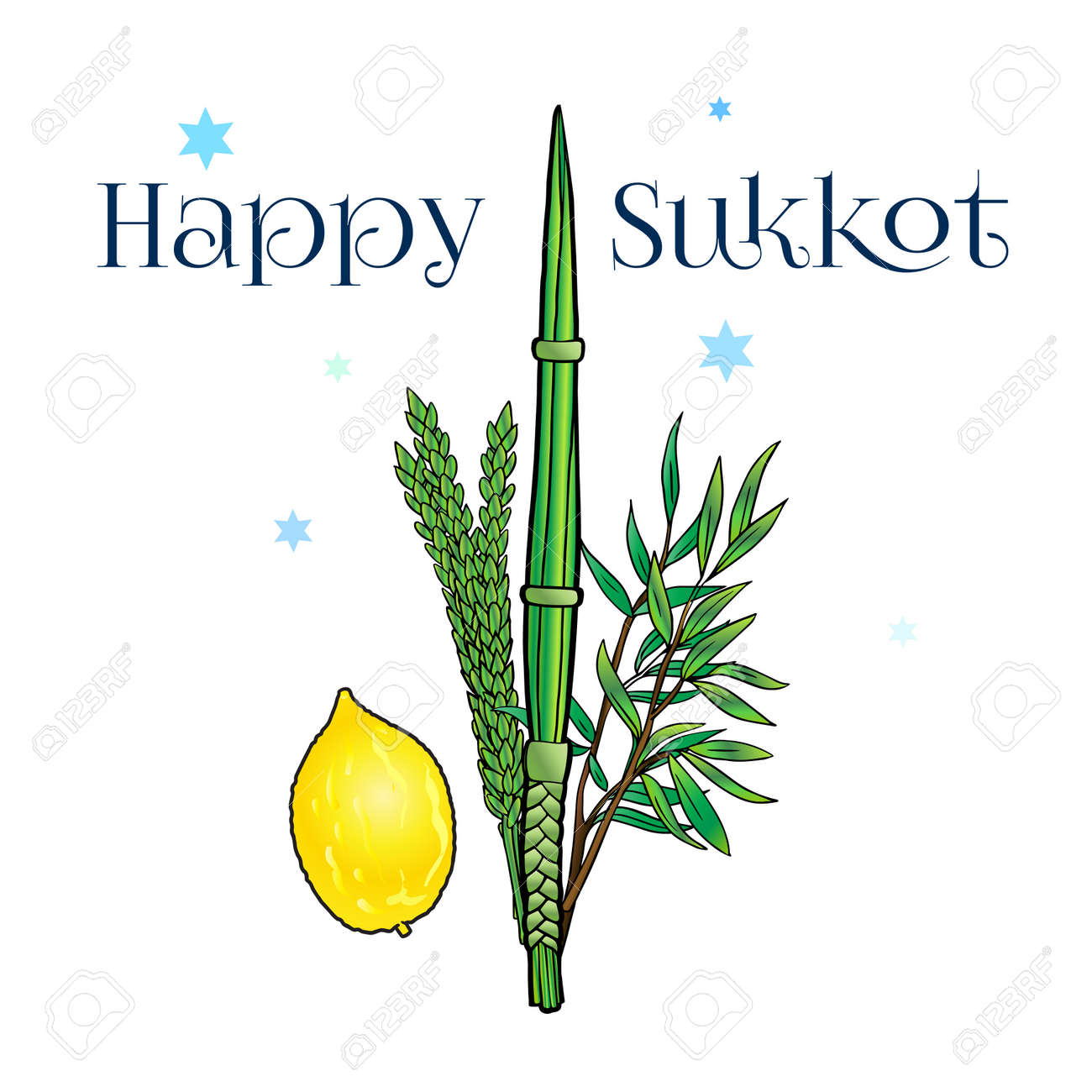 Happy sukkot greeting card with traditional four species lulav happy sukkot greeting card with traditional four species lulav etrog for jewish holiday sukkot m4hsunfo