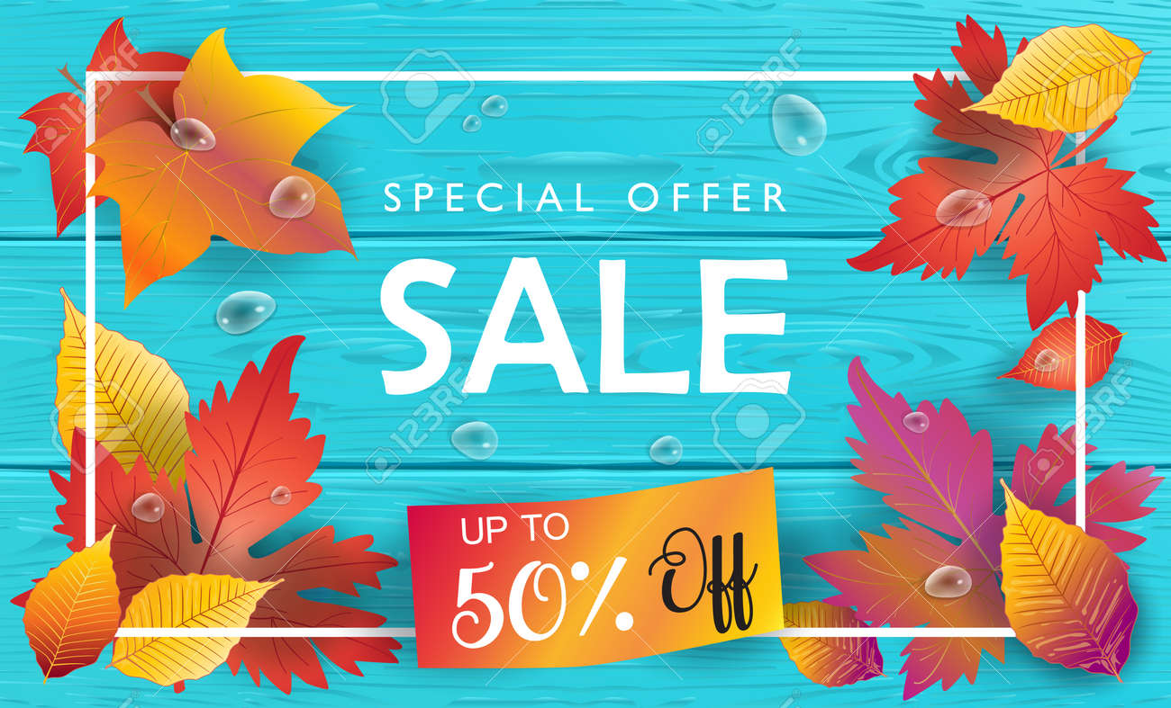 Sale Discount Wallpaper Fall Poster With Autumn Maple Leaves Ribbon Banner