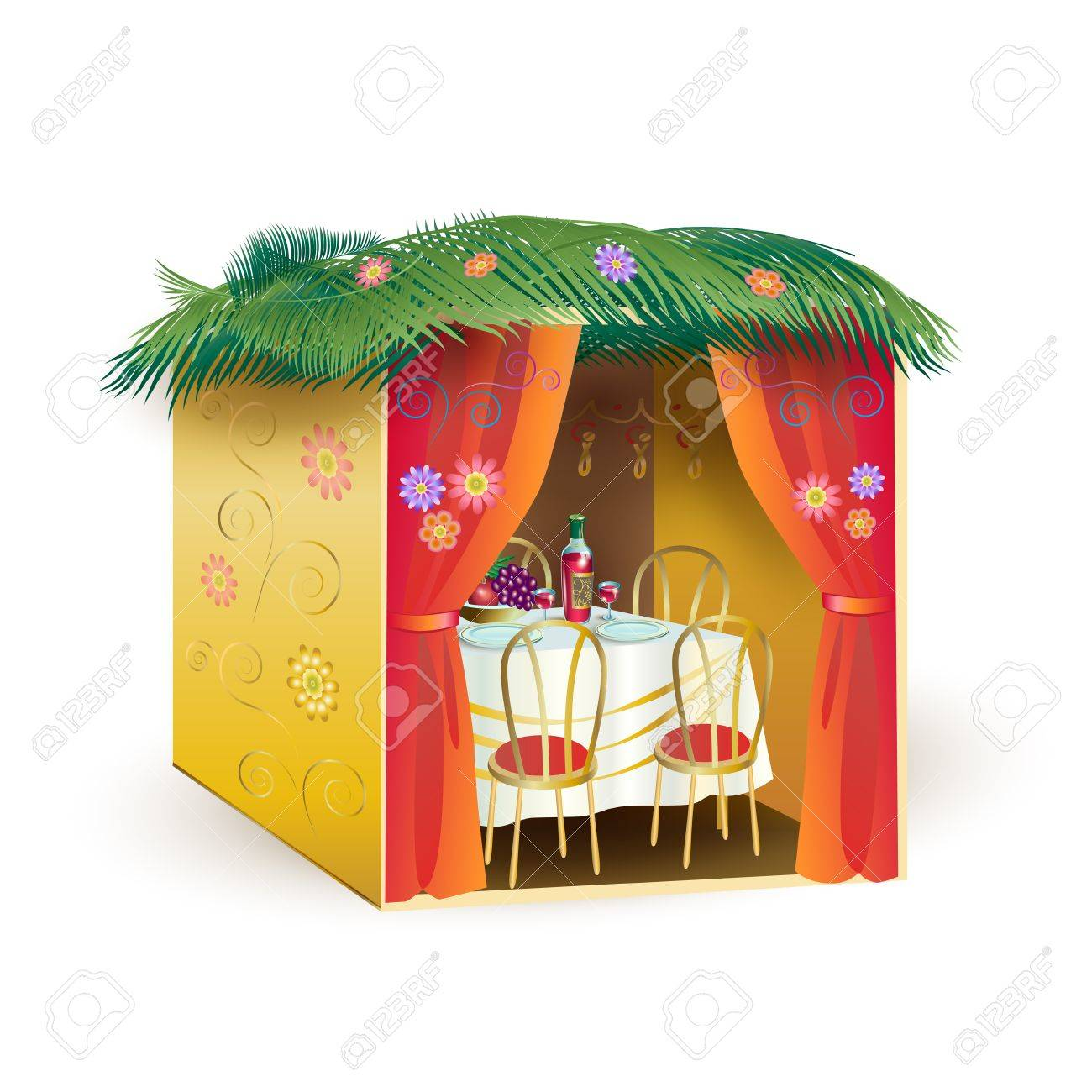 Sukkah For Sukkot Greeting Card Sukkah Lulav And Etrog Apple