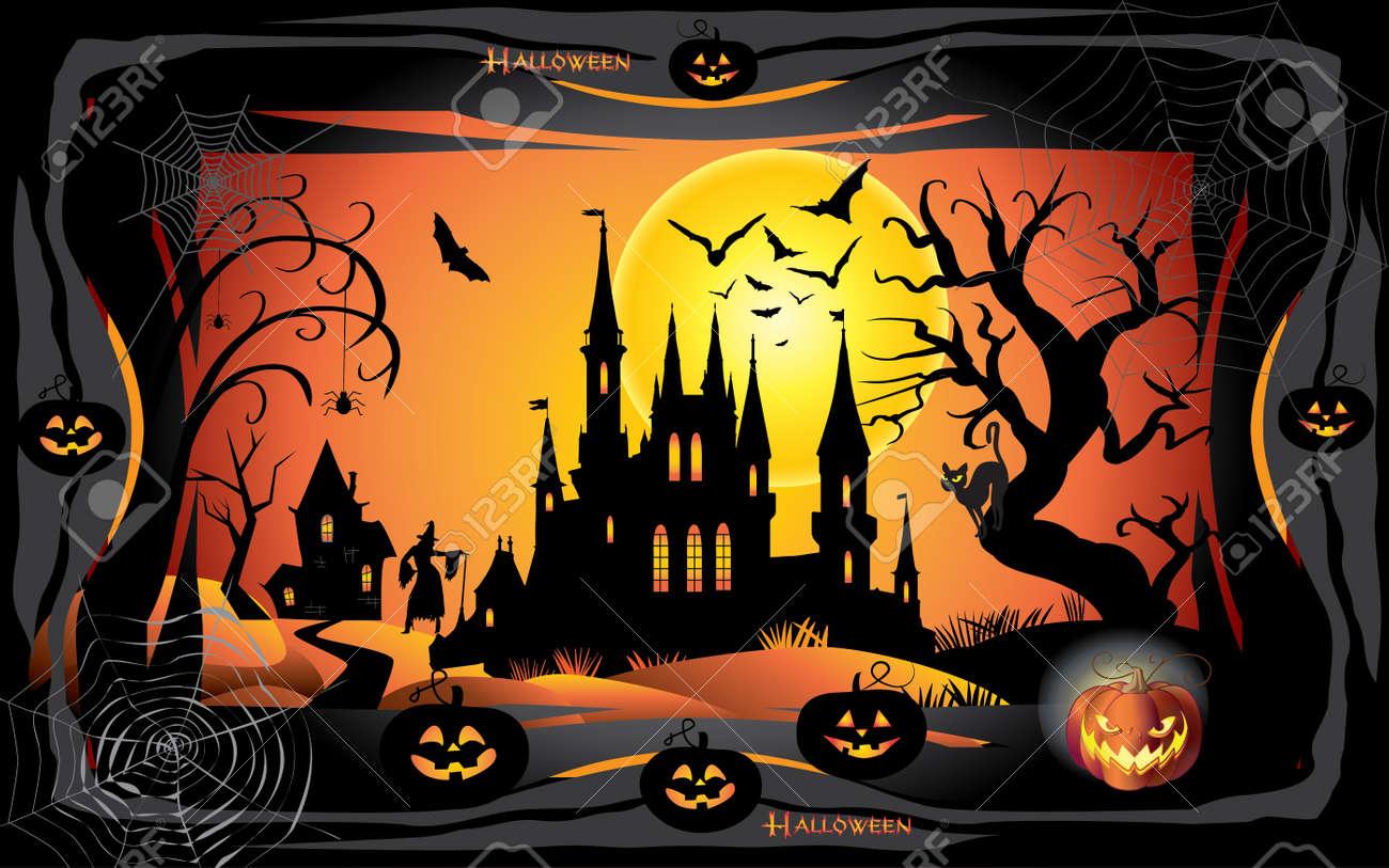 Download Wallpaper Halloween Batman - 88223817-halloween-night-background-with-pumpkin-bat-spider-web-fantasy-forest-haunted-house-and-full-moon-wa  Photograph_594299.jpg