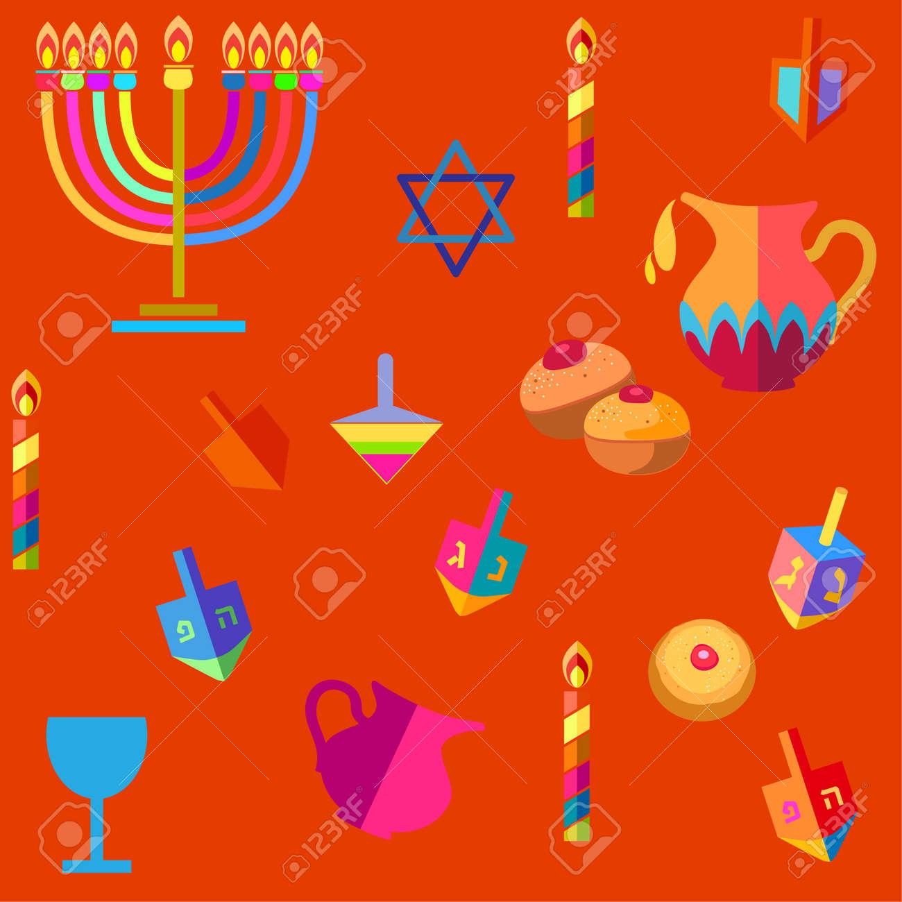 Jewish Holiday Hanukkah Seamless Pattern With Traditional Chanukah