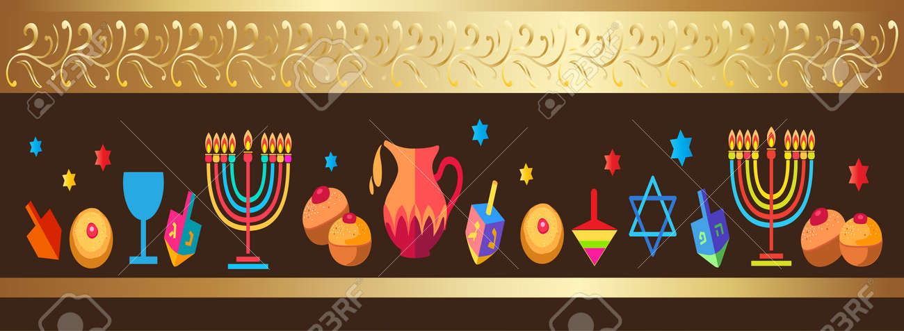Jewish holiday hanukkah greeting card background with traditional jewish holiday hanukkah greeting card background with traditional chanukah symbols wooden dreidels spinning top m4hsunfo