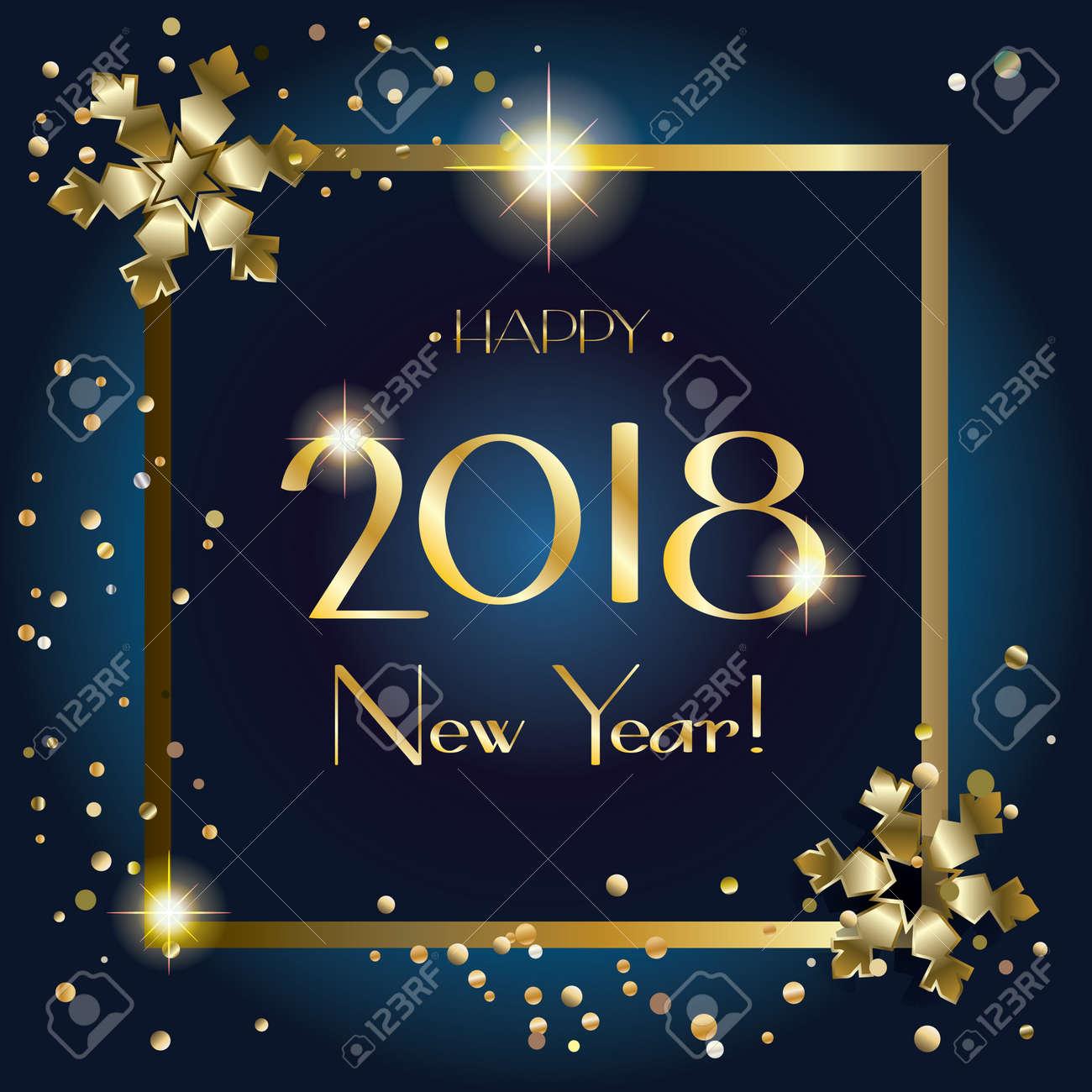 2018 Elegante Frohes Neues Jahr-Grußkarte Mit Goldenen Schneeflocken ...