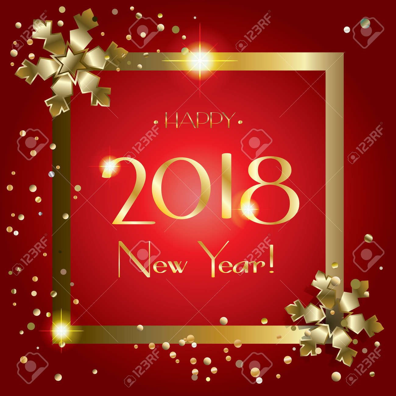 2018 happy new year greeting card luxury gold and red background template vector
