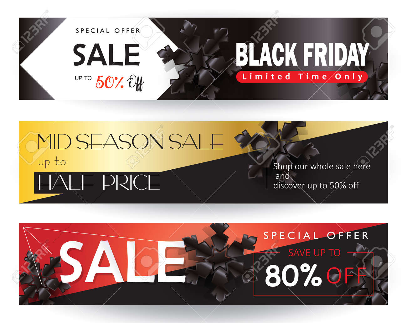 Black Friday Sale Discount Special Offer Web Banners Set Template Royalty Free Cliparts Vectors And Stock Illustration Image 90247228