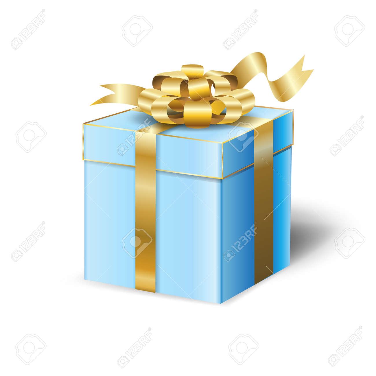 Coffret Cadeau Pour Le Jour Du Mariage Vacances Anniversaire Celebrer Belle Boite Cadeau Bleu Avec Ruban De Satin Or Isole Sur Fond Blanc