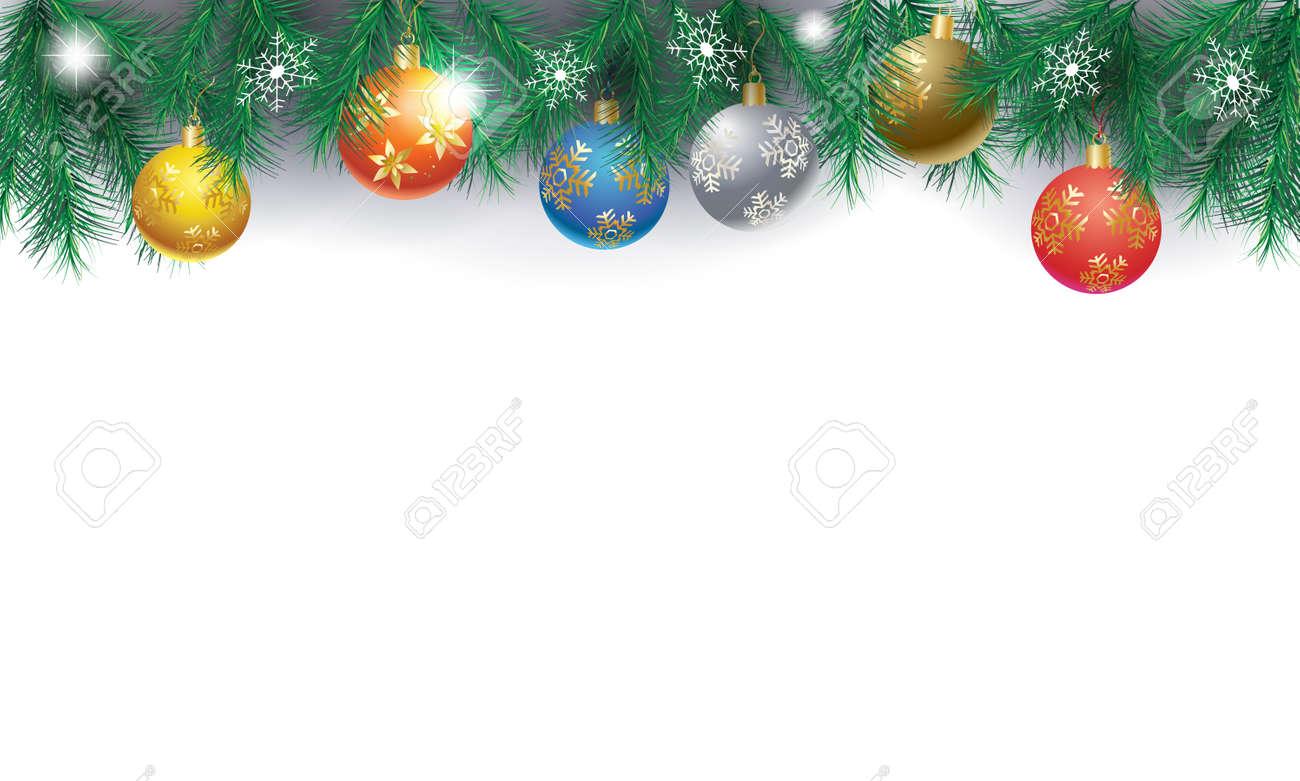 Christmas Page Border.Christmas Decorative Border With Fir Green Twigs And Christmas