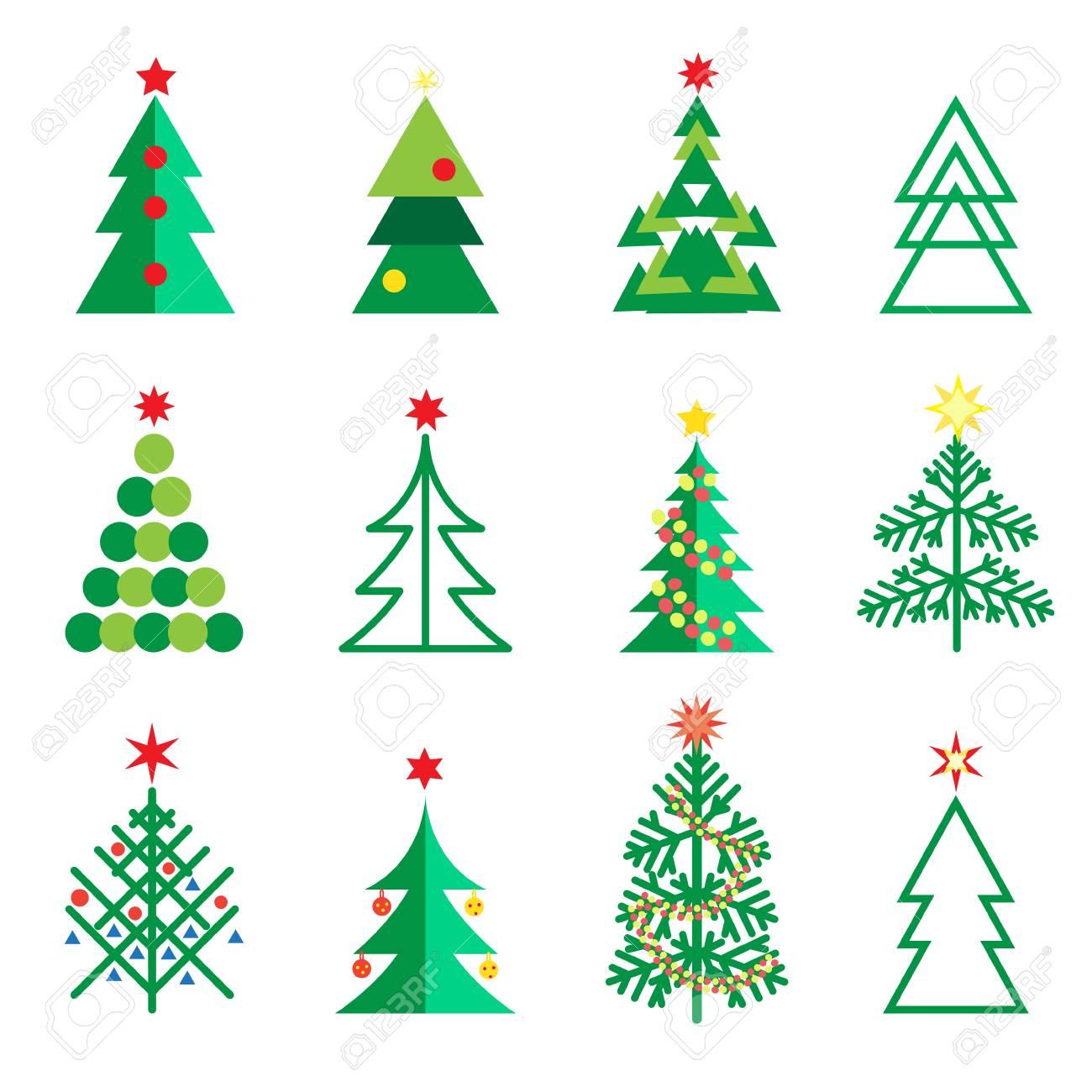 Christmas Decoration Fir Tree Symbols Abstract Geometric Design