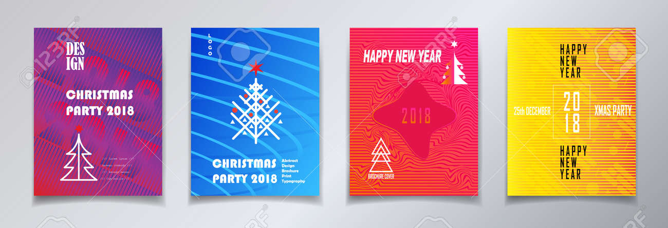 modern 2018 xmas and happy new year party greeting posters brochure invitation set template