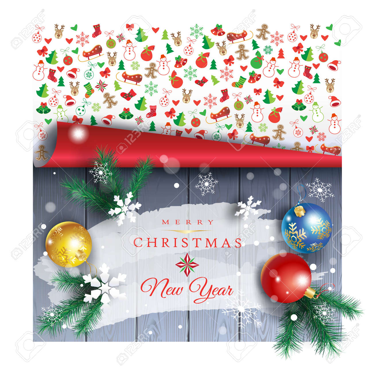 merry christmas and happy new year banner stock vector 92056005