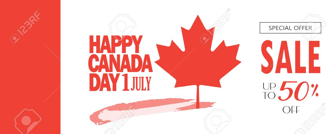 happy canada day sale banner with canadian flag maple leaf logo