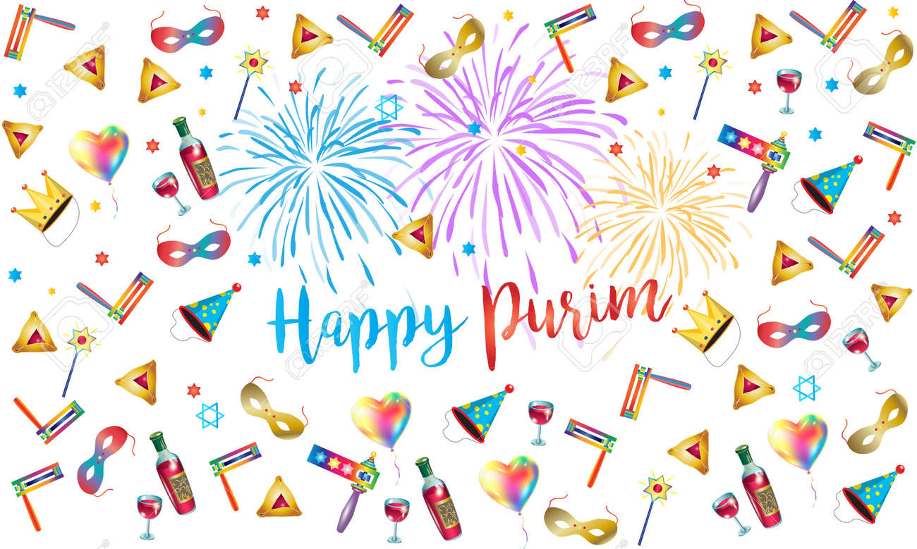 Happy Purim Jewish Holiday Greeting Poster With Purim Traditional