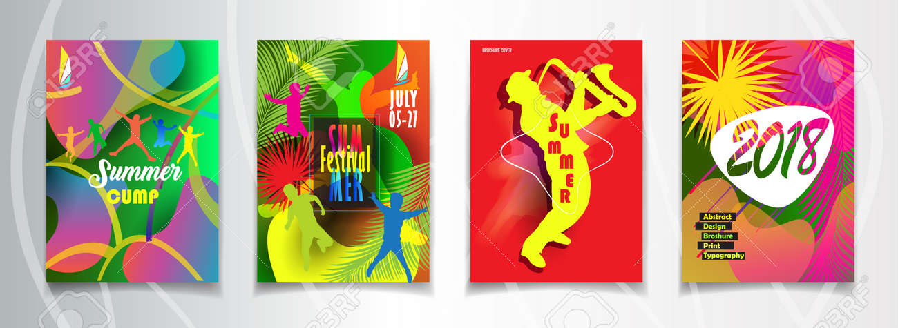 Hello Summer And Music Festival Posters, Flyers, Brochure Cover Set With  Colorful Abstract Dynamic