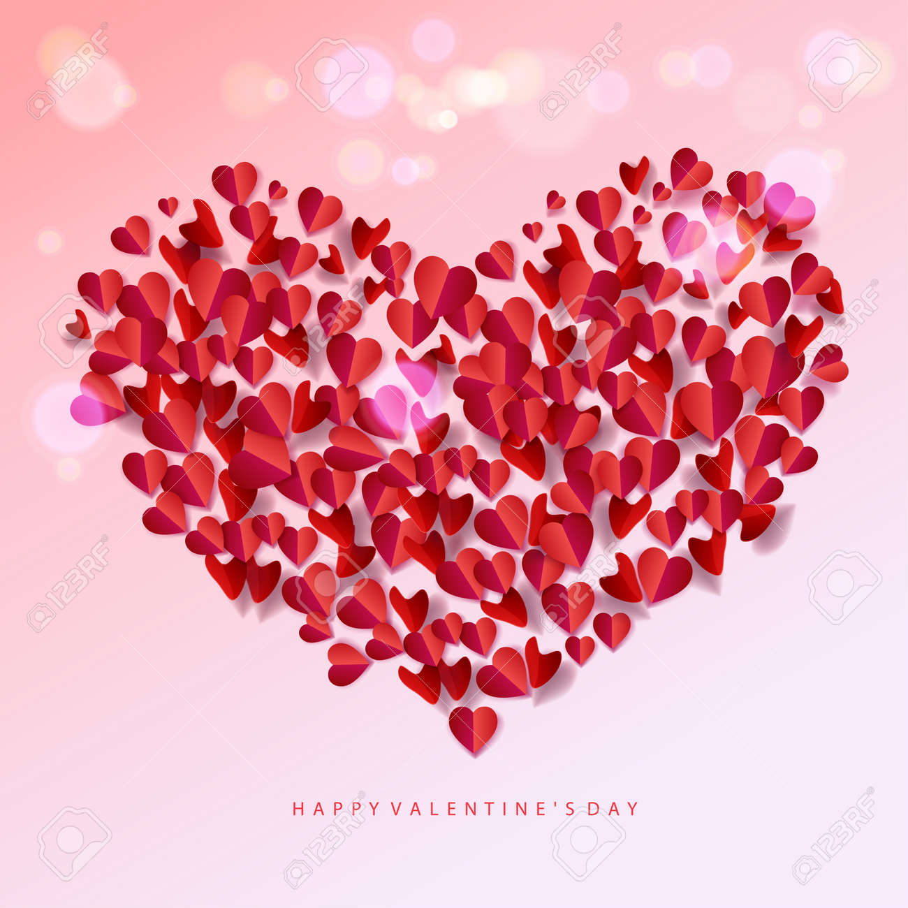 Happy Valentines Day Greeting Card With Heart Shapes Group Paper