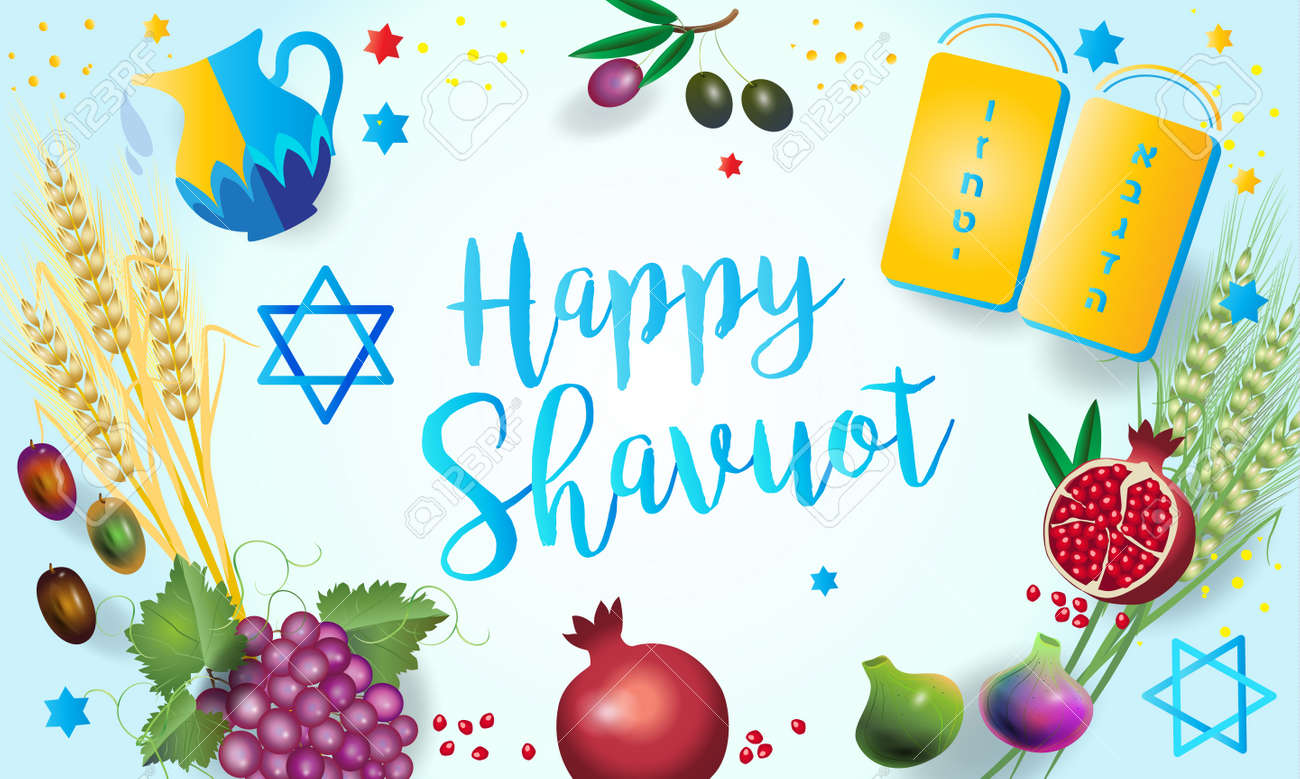 Happy Shavuot Jewish Holiday Greeting Card Torah And Traditional