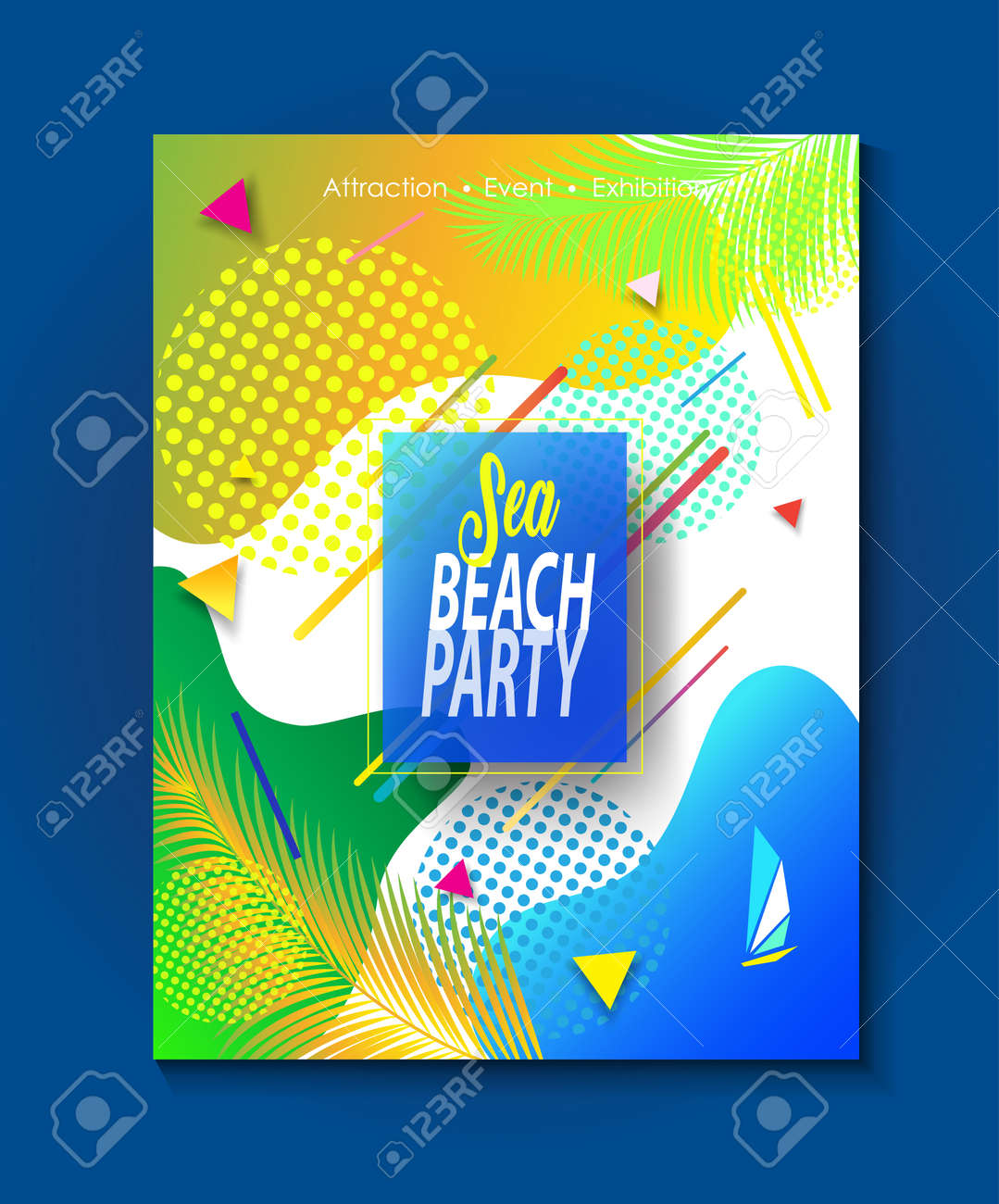 Sea Beach Party Invitation Tropical Palm Tree Leaves Abstract