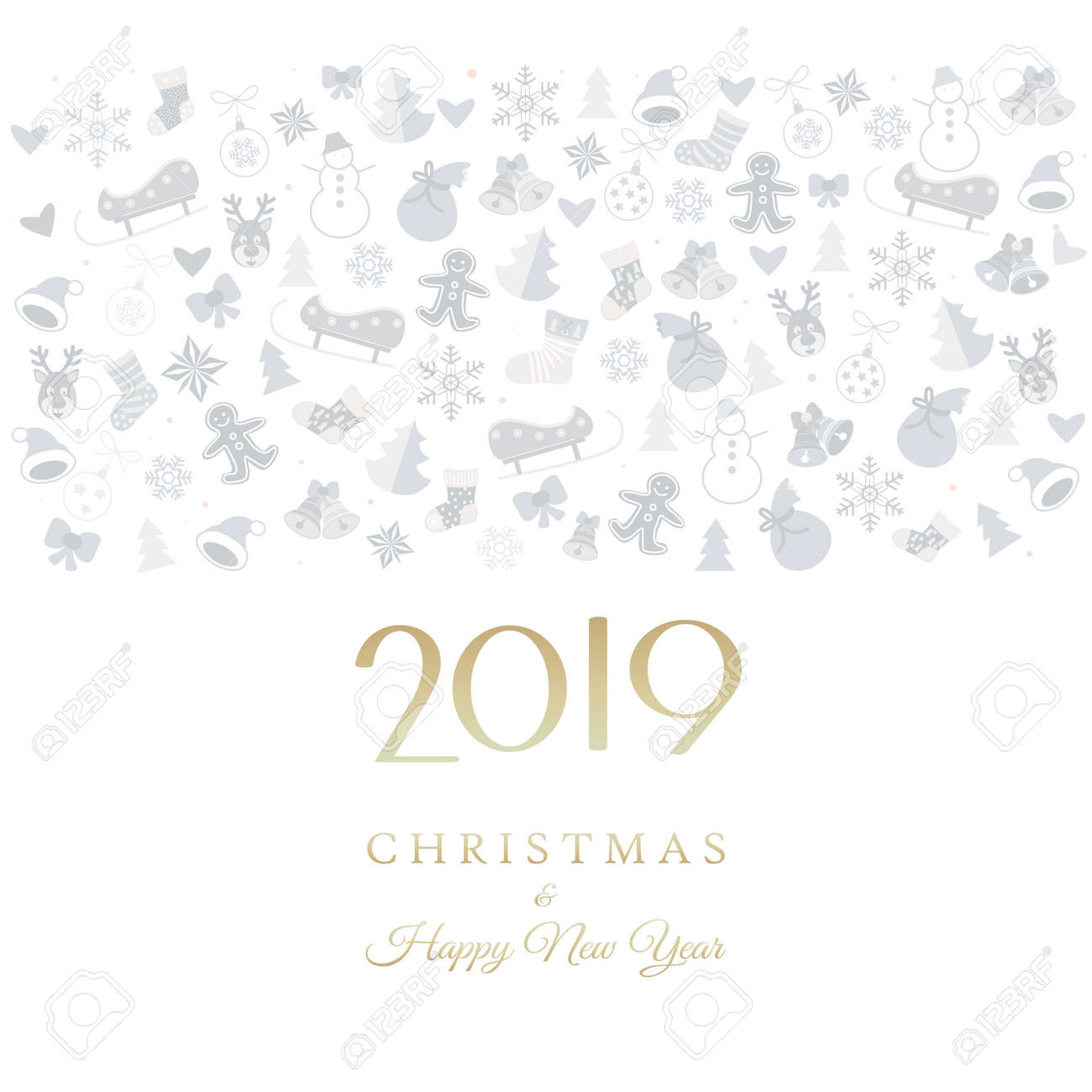 2019 new year festival event invitation christmas icons stock vector 104430409