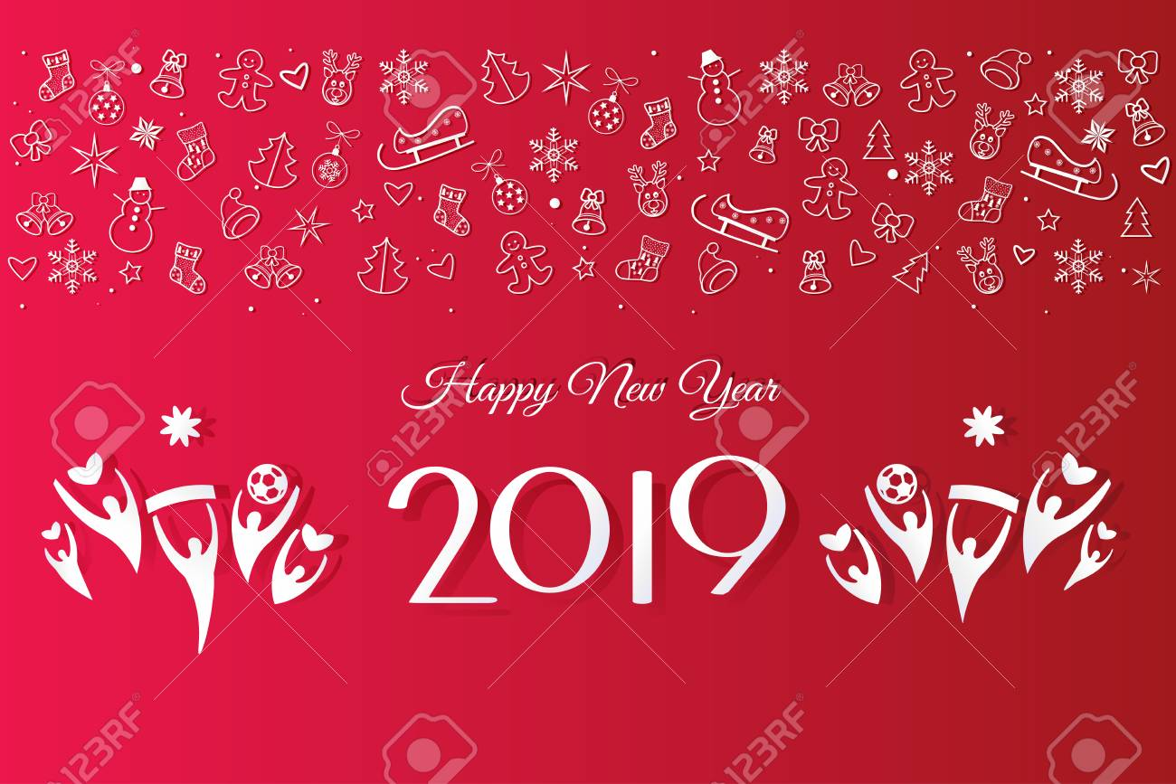 2019 Happy New Year Greeting Card Invitation With Christmas Winter Royalty Free Cliparts Vectors And Stock Illustration Image 104430410