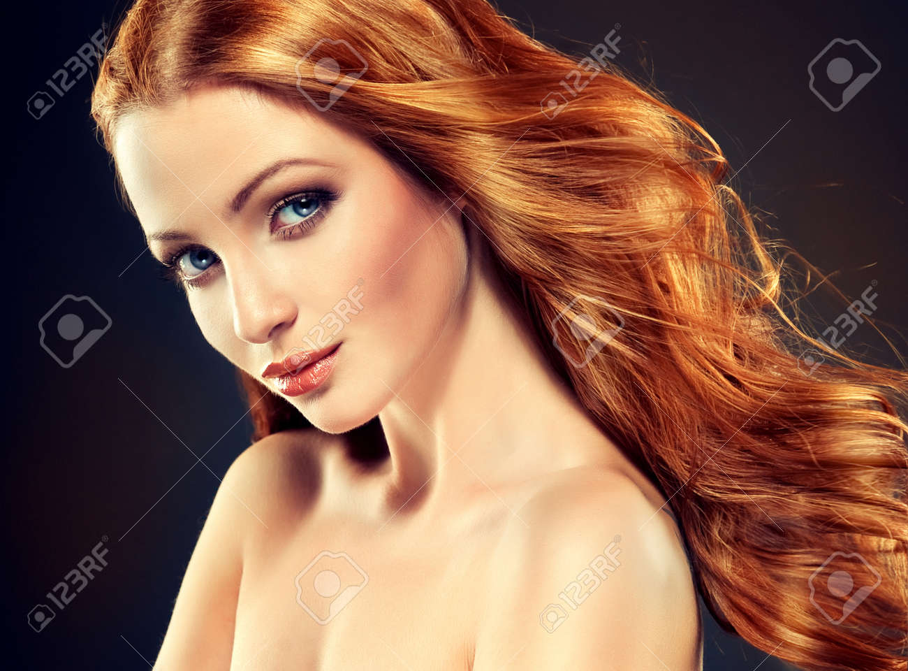 Beautiful Model With Long Curly Red Hair . Styling Hairstyles ...