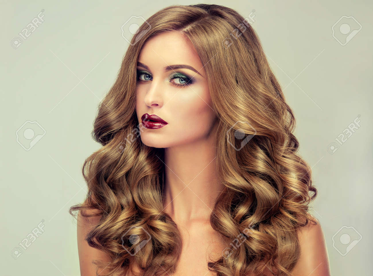 Beautiful Girl With Long Wavy Hair . Fair-haired Model With.. Stock ...