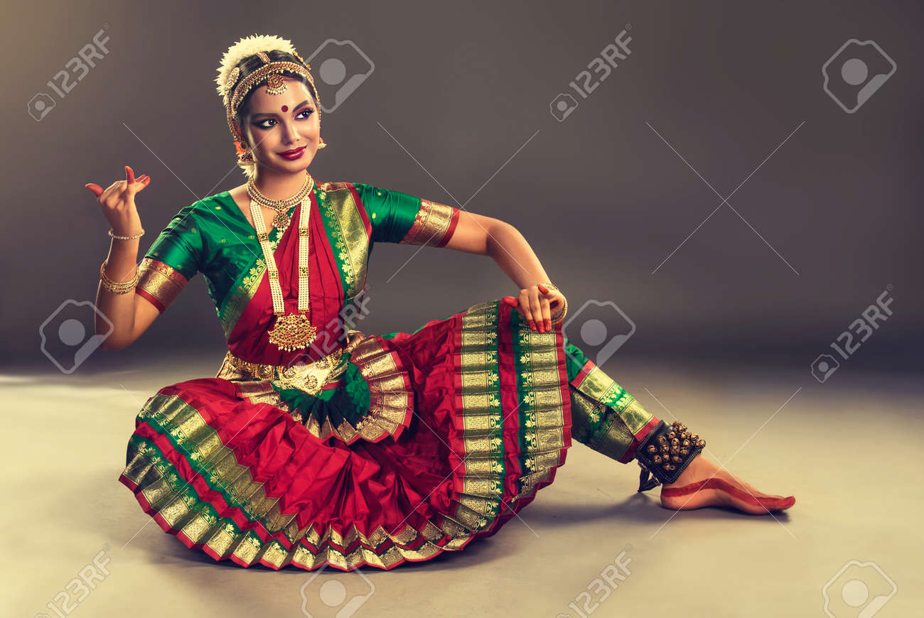 6c42dd7f46f2 Beautiful indian girl dancer of Indian classical dance bharatanatyam .  Culture and traditions of India.