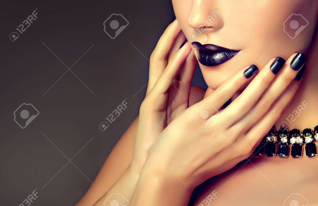 Beautiful Woman-model Is Showing Black French Style Manicure.. Stock ...