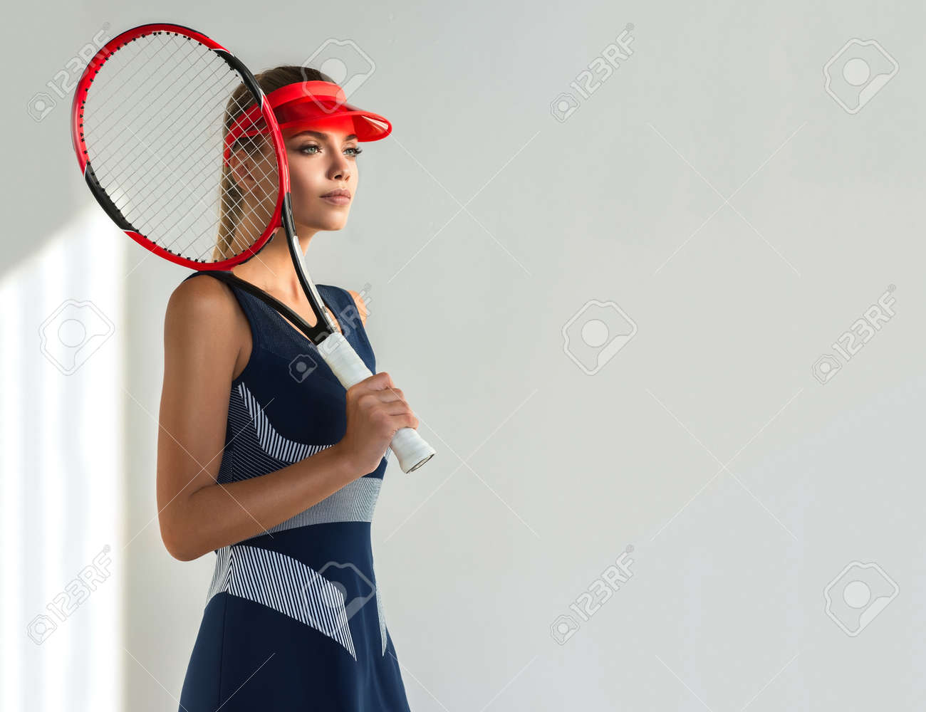 Graceful And Slender Model Is Dressed In Fashionable Tennis Stock Photo Picture And Royalty Free Image Image 137529055