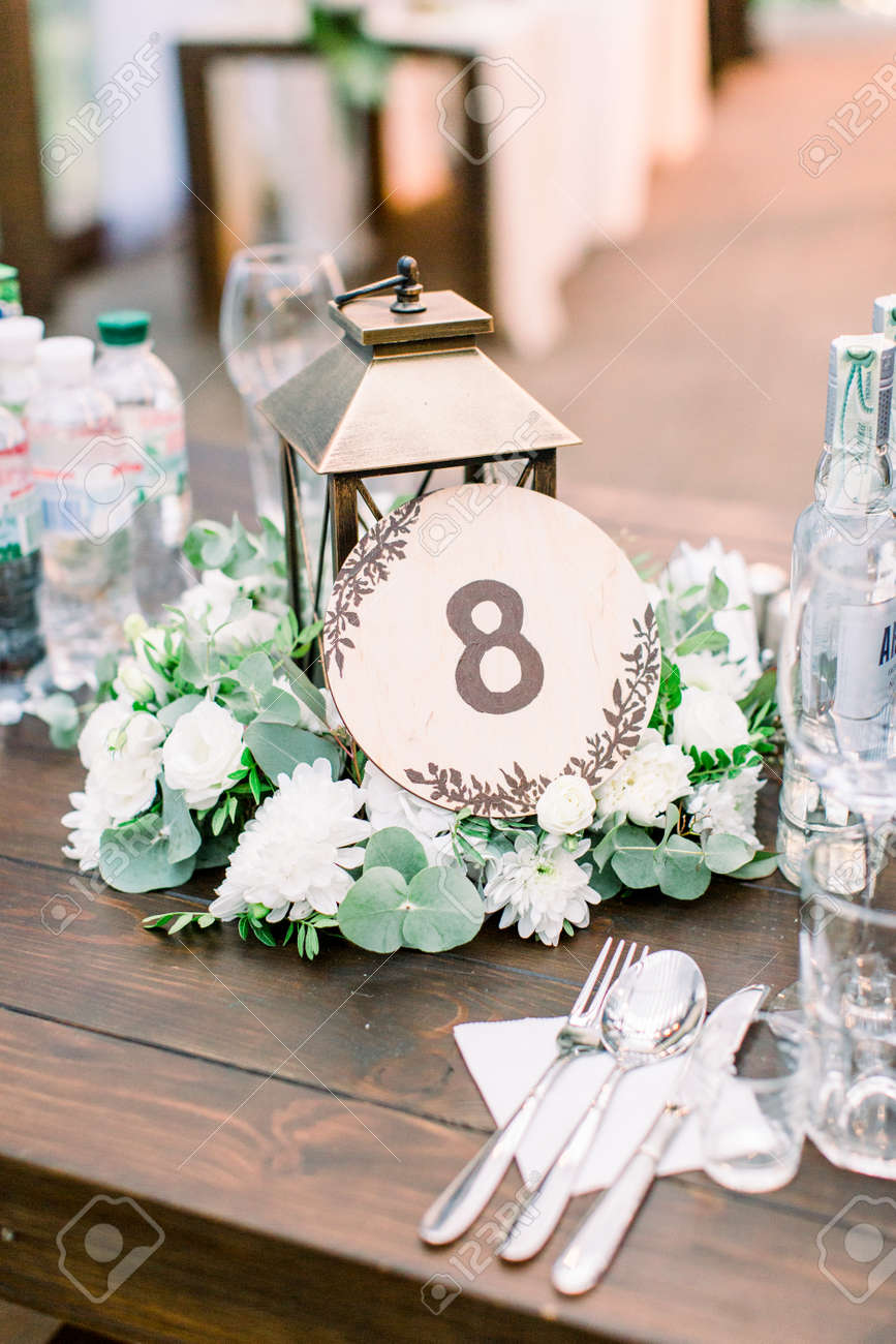 Wedding Table Number And Decor In Rustic Style Wedding Decorations Stock Photo Picture And Royalty Free Image Image 133211431