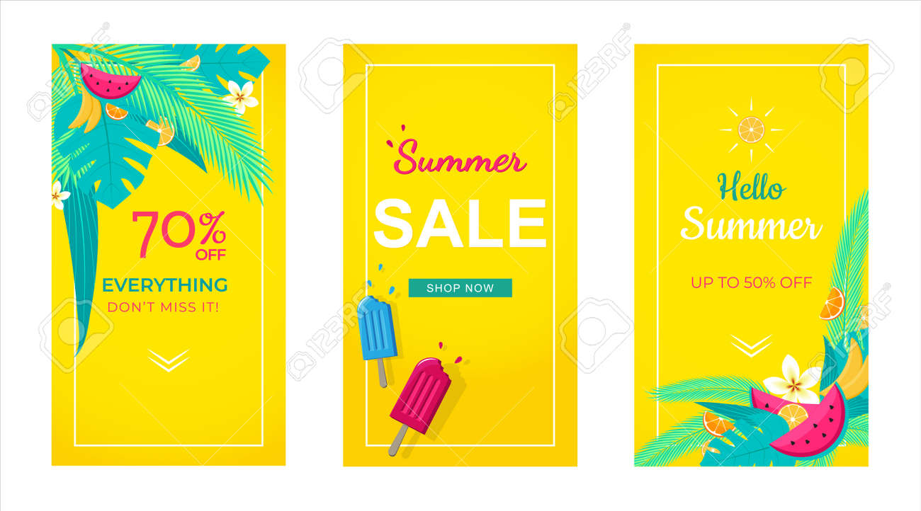Set of sale banner tropical background, social media template, summer sale can use for, website, mobile app, poster, flyer, coupon, gift card, smartphone template, web design - 134862957