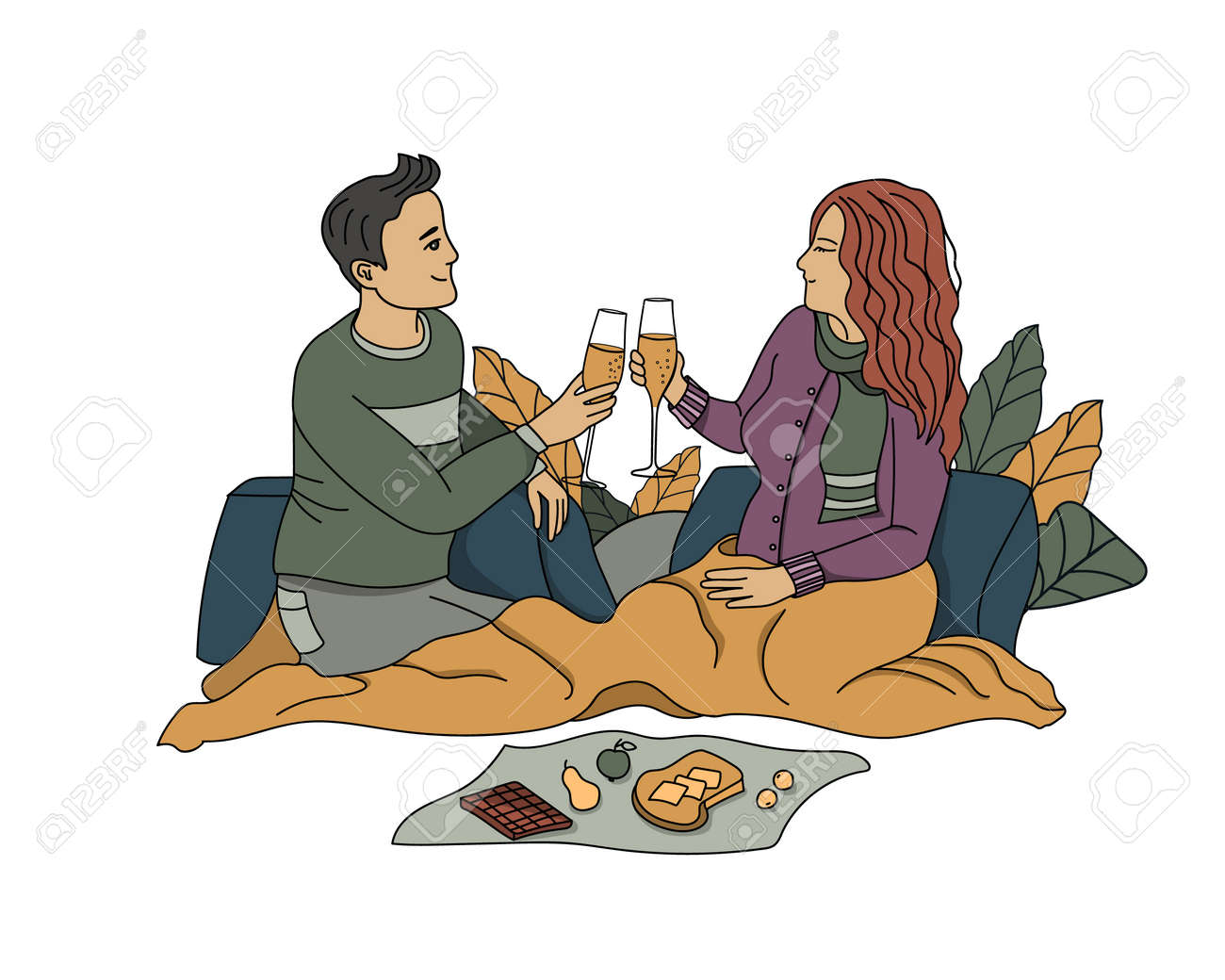 Couple in love drinking champagne - 160982592